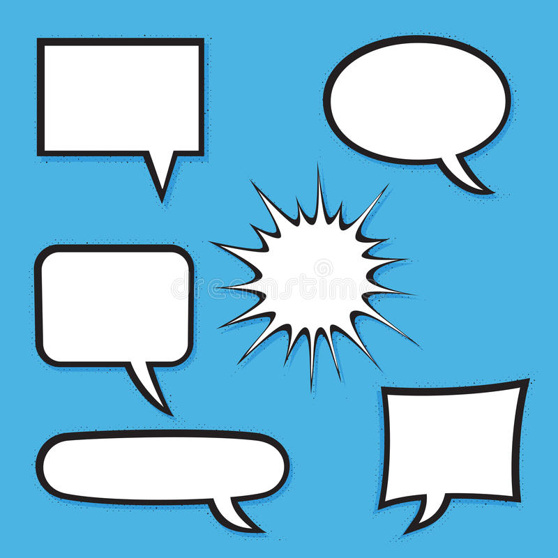 Set of comic bubbles with halftone shadows. Vector Format royalty free illustration