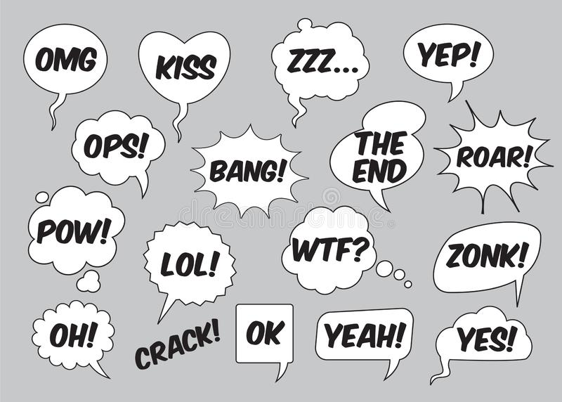 Set of comic speech balloons. Vector Illustration. Set of comic speech bubbles with text. Vector Illustration and graphic elements. White isolated speech vector illustration