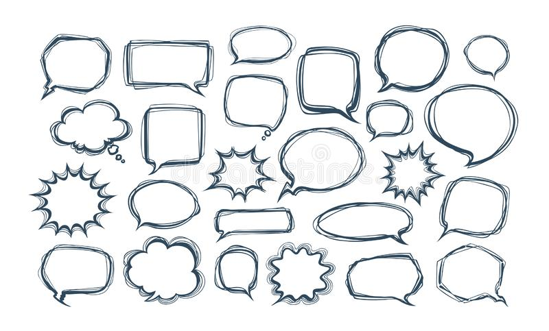 Set of comic speech bubbles. Doodle vector illustration royalty free illustration