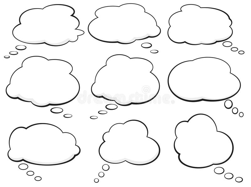 Set of comic speech bubbles and thought balloons. Vector illustration royalty free illustration