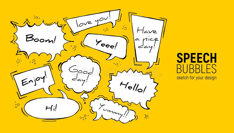Set of comic speech bubbles. Vector Illustration and graphic elements. Hand drawn different shapes. Speech bubbles in rectangle, stock illustration