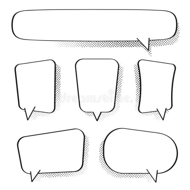 Set of comic speech bubbles. Vintage empty comic bubbles with halftone effect in pop art style vector illustration