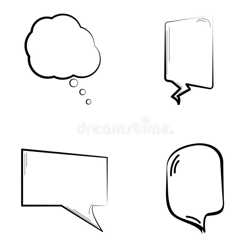 Set of comic speech bubbles. On a white background, Vector illustration royalty free illustration