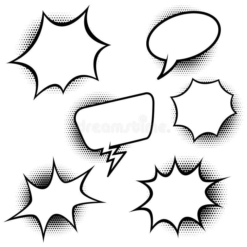 Set of comic style speech balloons. Design elements for poster, banner, card. Vector illustration stock illustration