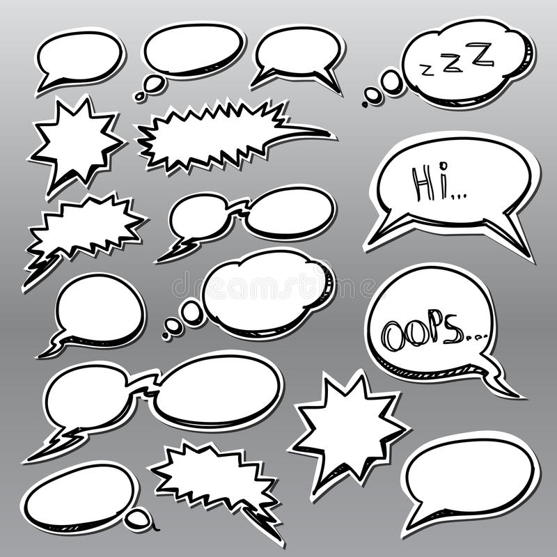 Set of comic style talk clouds stock illustration