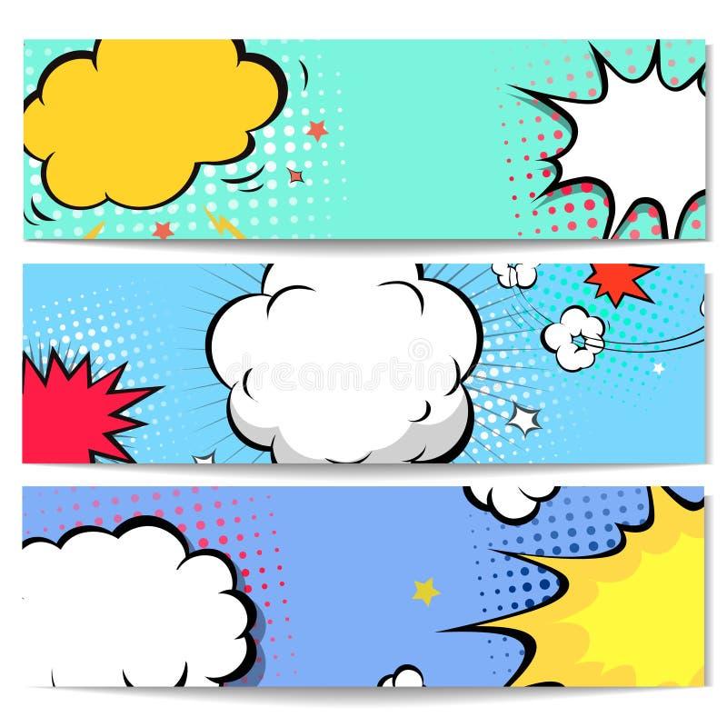 Set of comics boom backgrounds. Set of comics boom speech bubble backgrounds, vector illustration royalty free illustration