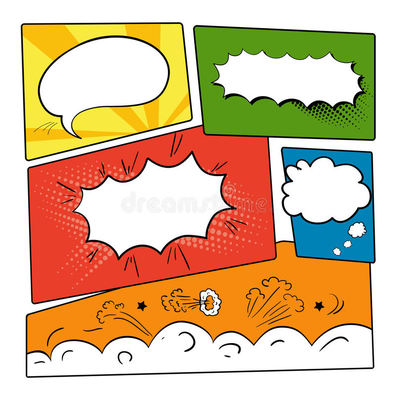 Set comics bubbles. Set of graphic comics speech bubbles, vector templates clouds for text on strip background vector royalty free illustration