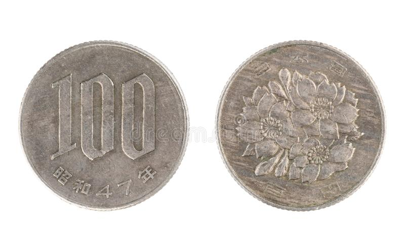Japan coin, the nominal value of 100 yen royalty free stock photography