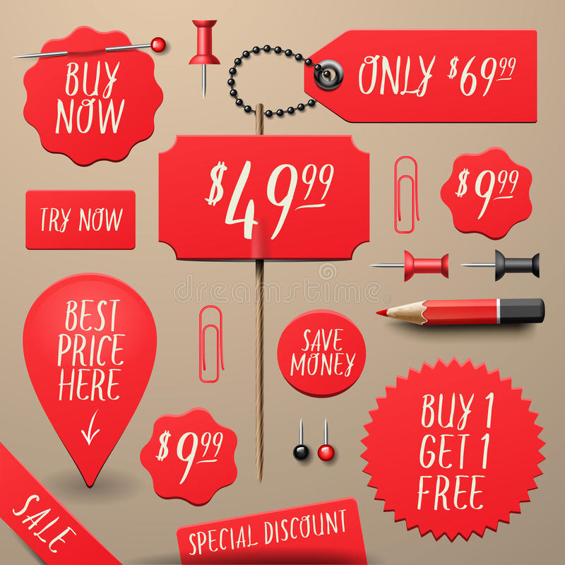 Set of commercial sale and discount stickers. Elements and badges, vector illustration royalty free illustration