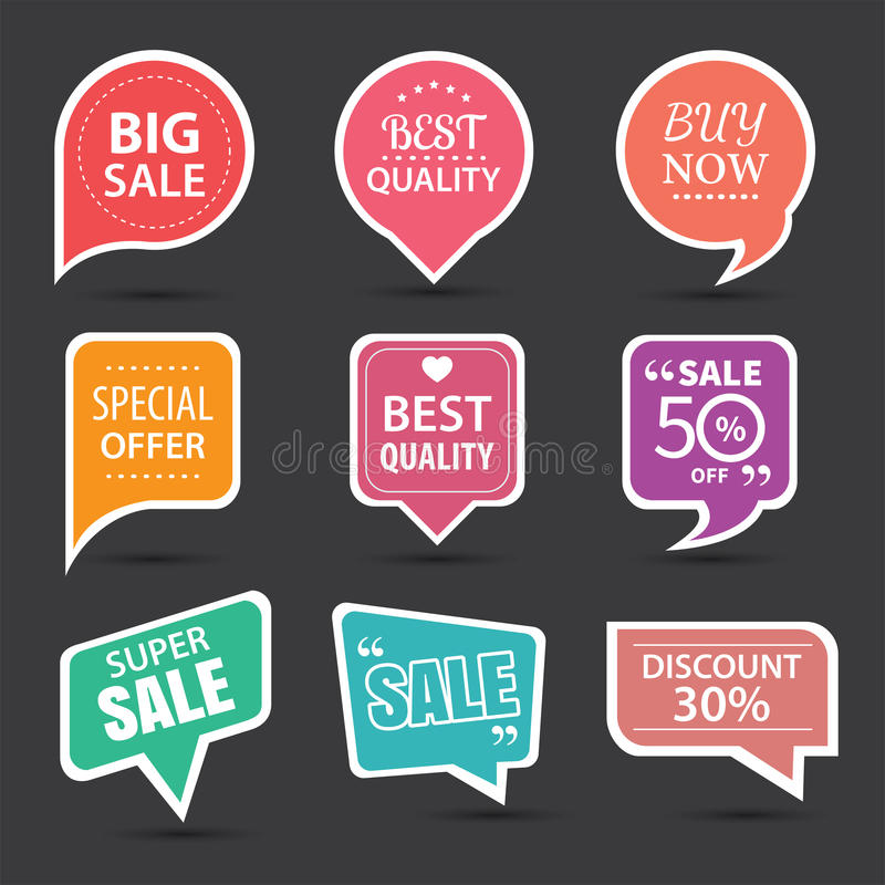 Set of commercial sale stickers, elements badges and labels. Collection royalty free illustration