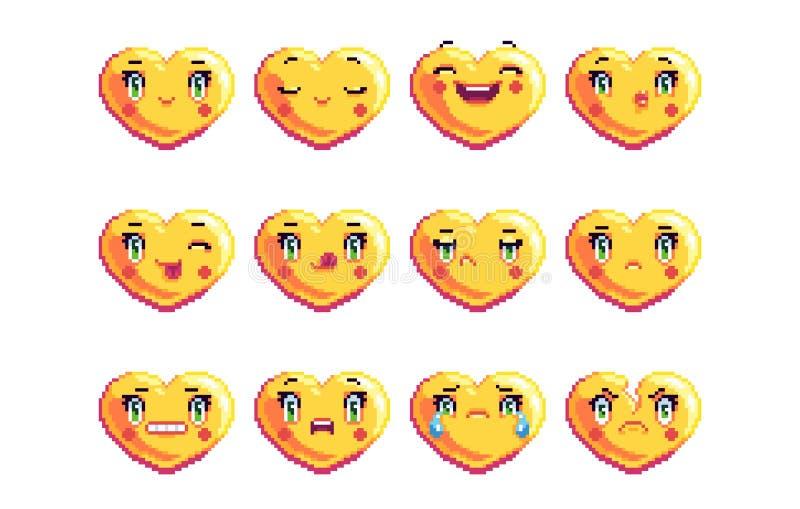 Set of 12 common heart shaped pixel art emoji in golden color vector illustration