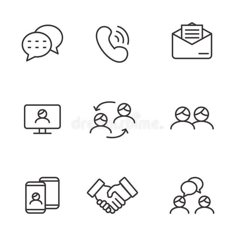Set of communication related vector illustration. With simple line design suitable for icon stock illustration