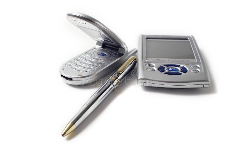 Set of communication tools on white stock photo