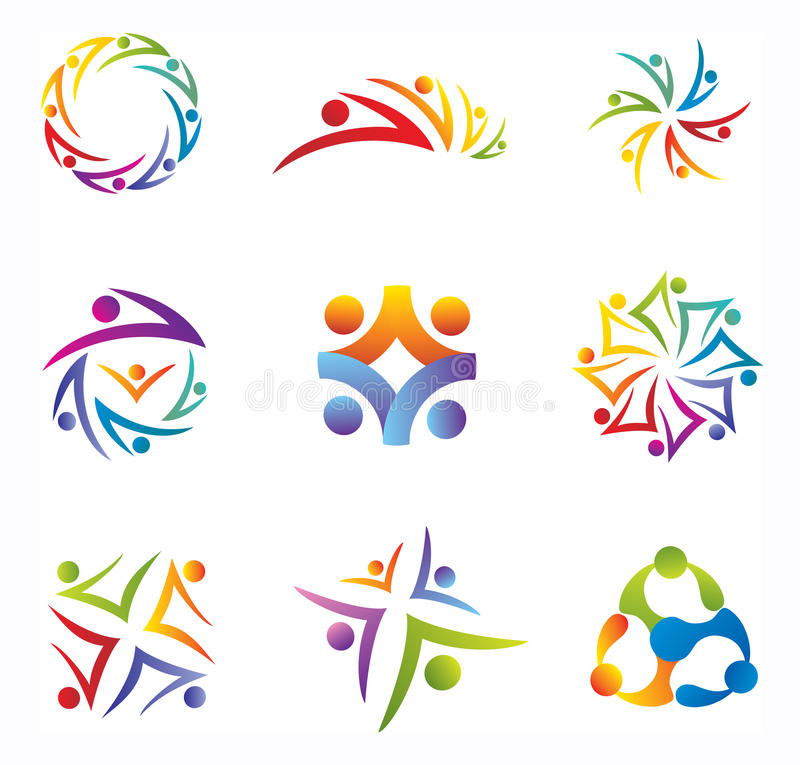 Set of Community / People / Social Network Icons. In Rainbow Colors stock illustration