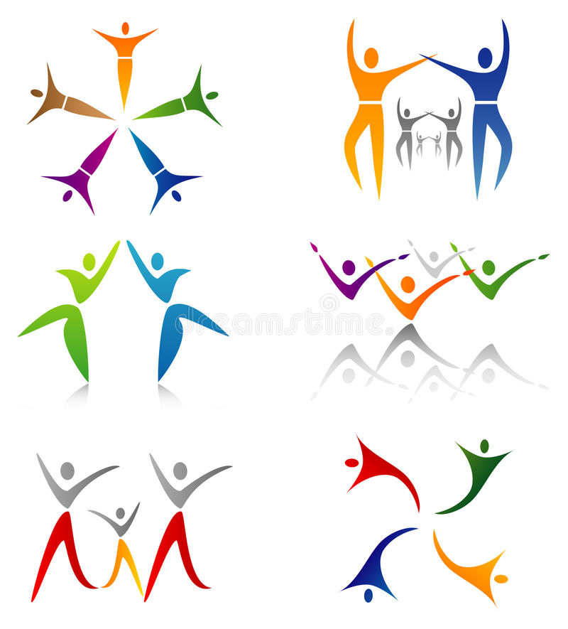 Set of Community / Social Network Icons. With Figures and Silhouettes vector illustration
