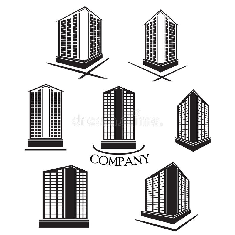 Set of Company building Vector logo and icon. Set of Company building and construction Vector logo and icon royalty free illustration
