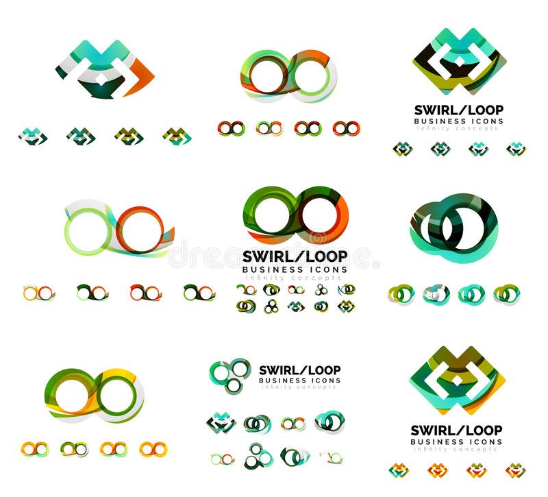 Set of company logotype branding designs, swirl infinity loop concept icons isolated on white vector illustration
