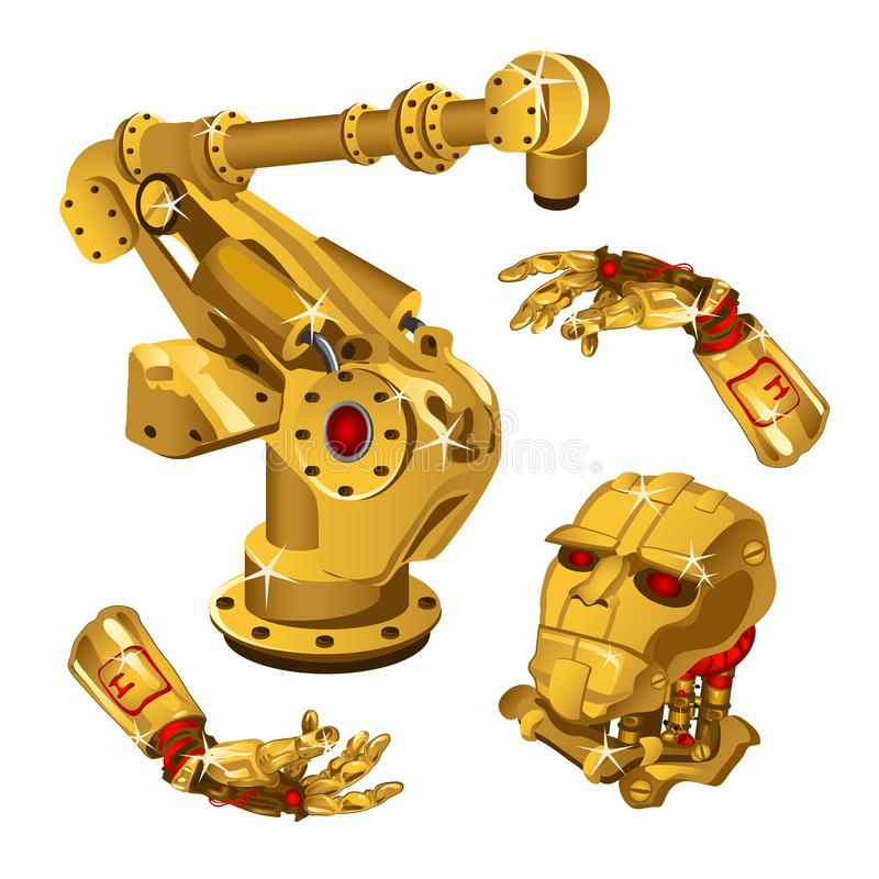 The set of components of the robot are made from the precious metal gold. High technology. Vector illustration. vector illustration