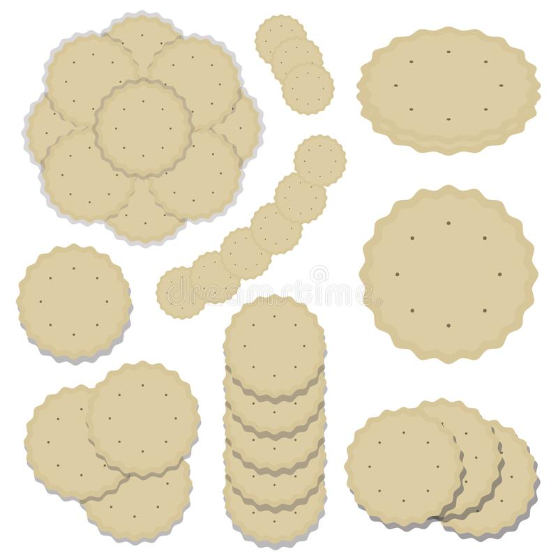 Set of compositions from round cookies baking delicious crispy light beige cracker wavy edge line pattern vector isolated on white royalty free illustration