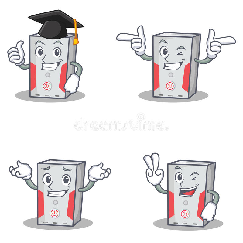 Set of computer character with graduation wink two finger. Vector art royalty free illustration