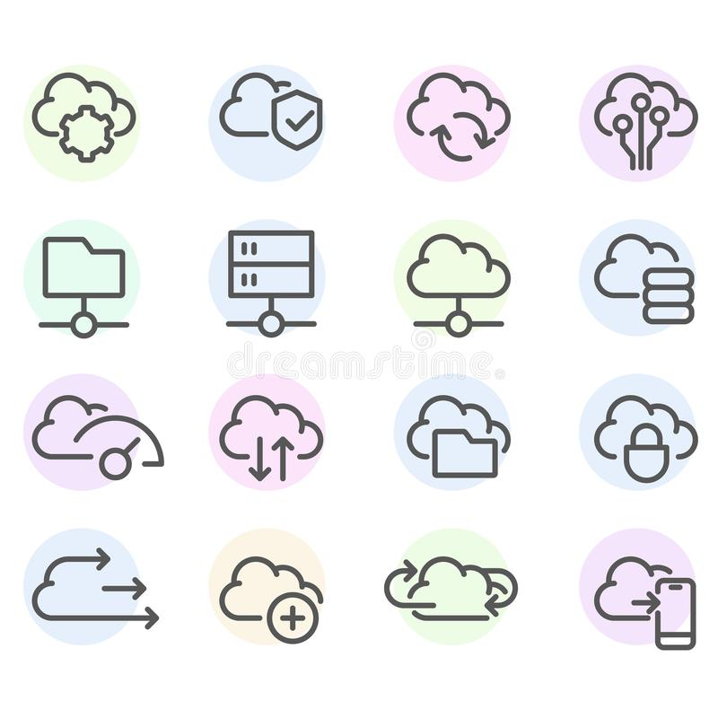 Set of computer cloud line icons -  data synchronisation, transfer, cloud computing vector illustration