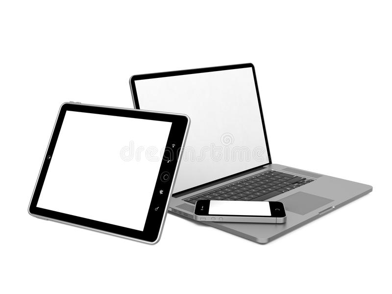 Set of Computer Equipment. Set of Modern Computer Equipment. Isolated on White royalty free illustration