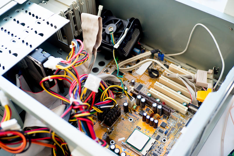Set of computer hardware. On a table stock photography