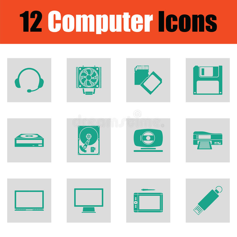 Set of computer icons. Green on gray design. Vector illustration royalty free illustration
