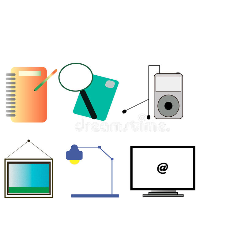 A set of computer icons stock images