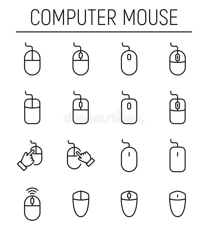 Set Of Computer Mouse In Modern Thin Line Style Stock Illustration
