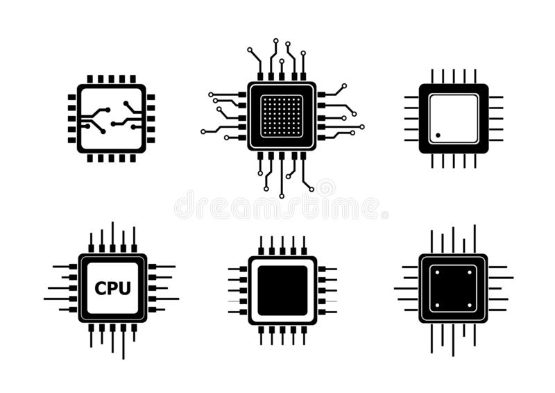 computer processors cpu high resolution 3d render on blue stock illustration