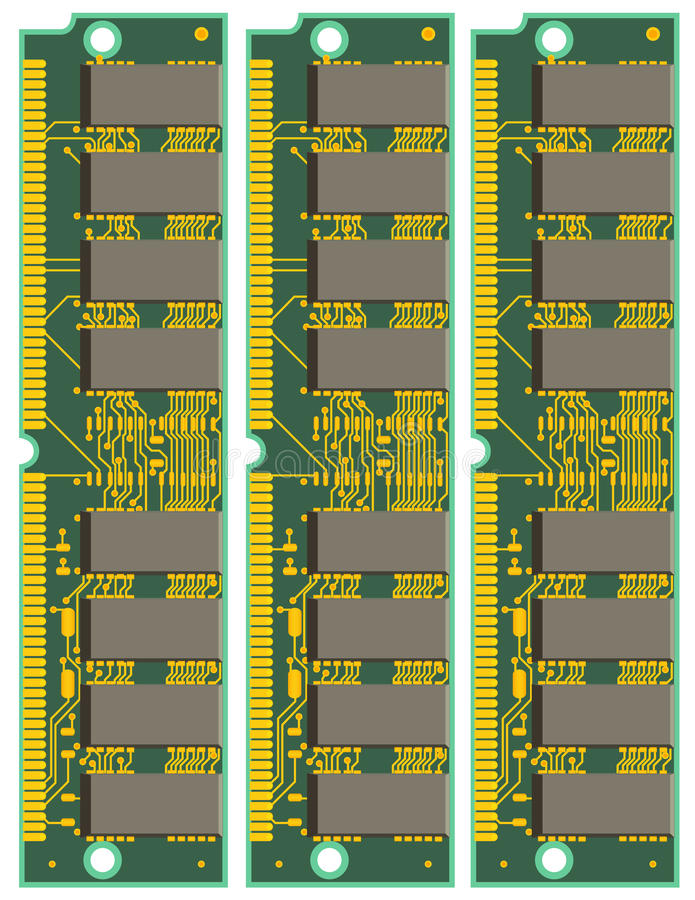 Download Set of Computer RAM Cards stock vector. Image of graphic - 21384364