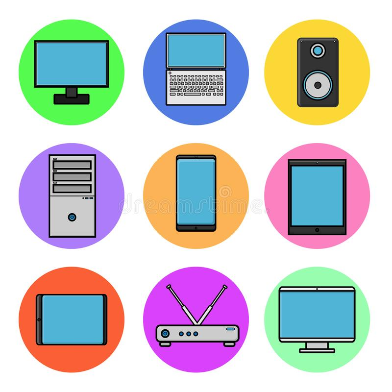 Set of computer round icons, modern digital items of information technology IT smartphone, telephone, tablet, monitor, laptop vector illustration