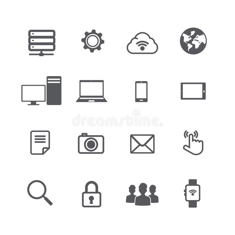 Set of computer and social network connection icon on w. Hite background vector illustration eps10 vector illustration
