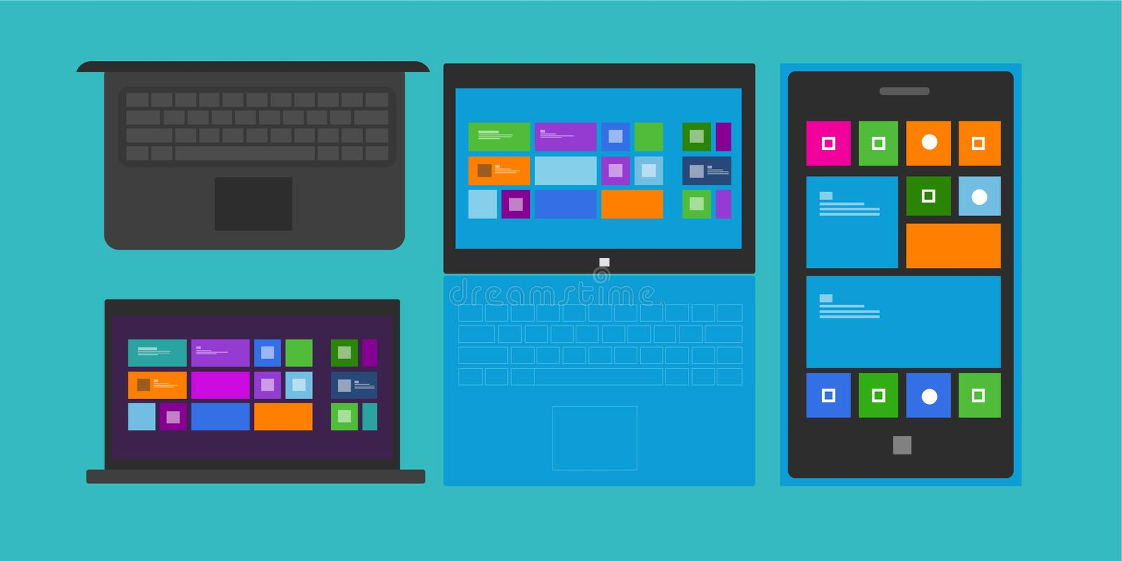 Set of computing device. S with tiled user interface in blue, laptop from top, front, tablet and phone vector illustration