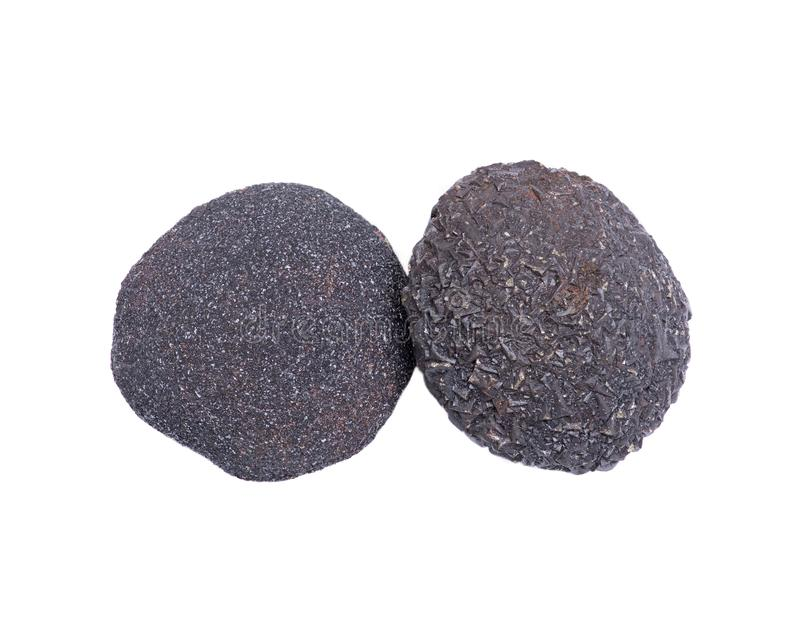 Set of concretion stones from southwest Kansas, USA. Kansas Pop Rocks on white background. stock image
