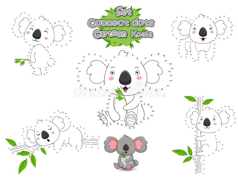 set connect dots draw cute cartoon koala color educational game kids vector illustration animal frame mammals