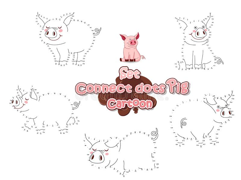 Set Connect The Dots Draw Cute Cartoon Pig and Color. Educational Game for Kids. Vector Illustration Animal Frame stock illustration
