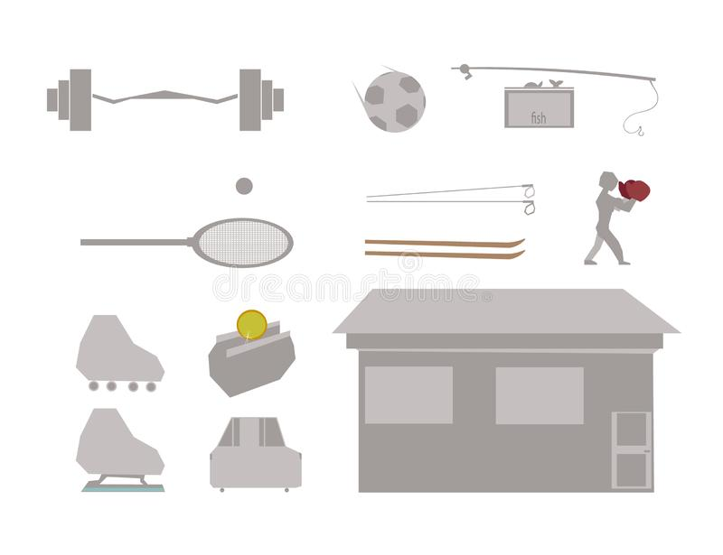 The set consists of sports equipment, a few useful things and a man in boxing gloves. There is still a house, and next to it is a car and a purse with a coin stock images