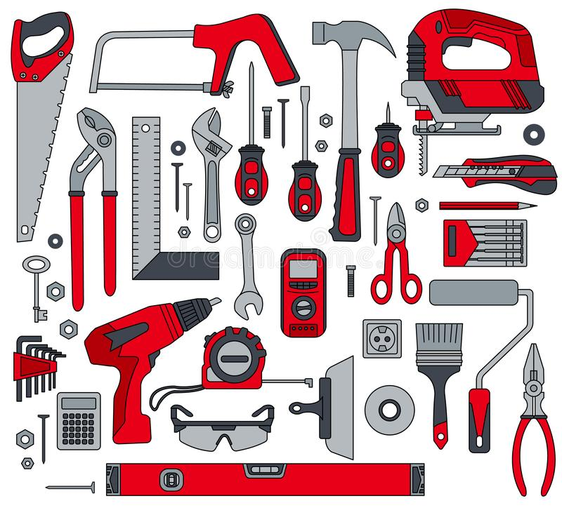 A set of construction electro and hand tools for house repair. Vector illustration. stock images