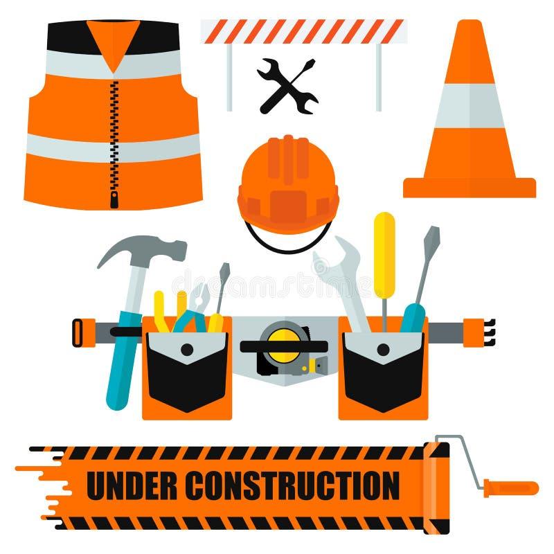 Set of construction equipment orange stock illustration