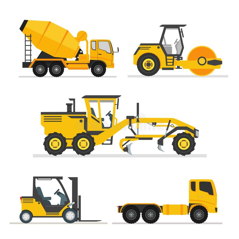 Set of construction heavy machines. vehicles construction equipment for building. Road Grader, Concrete cement mixer truck, long t. Railer, road roller, fork stock illustration