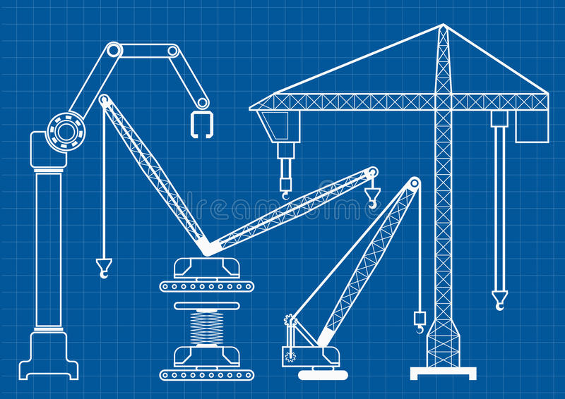 Set of construction machine crane blueprint outline vector illus royalty free illustration