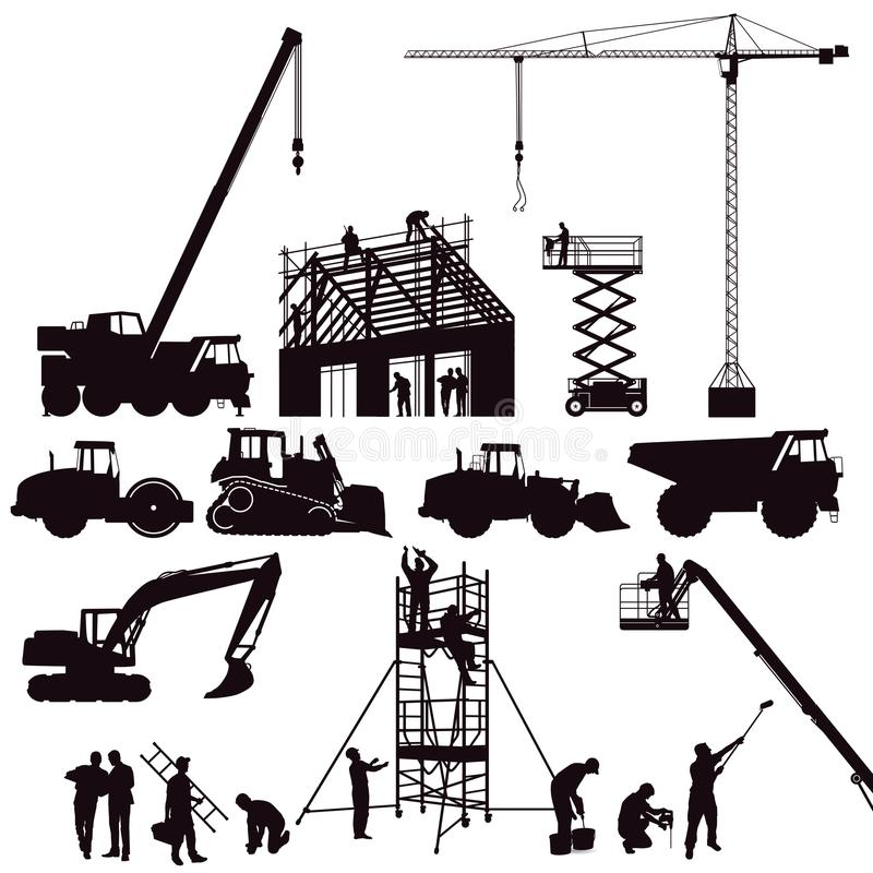 Set of construction machinery vector illustration