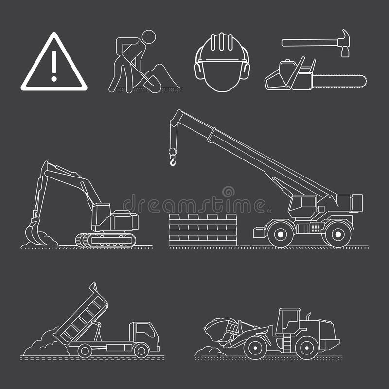 A set of construction site icons and vehicles vector illustration