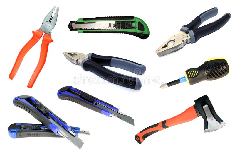 Set of construction tools. Tool isolated. royalty free stock photo