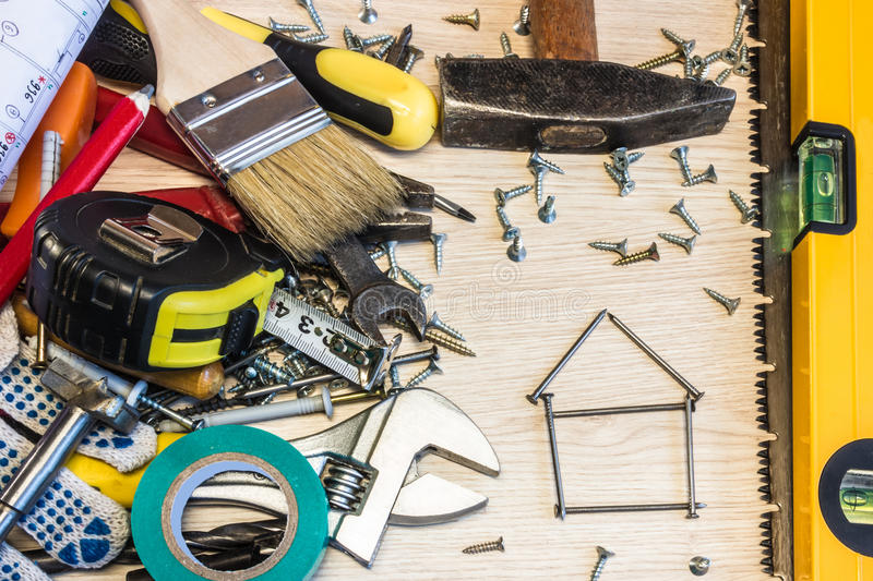 Set of construction tools, the tools lie around, center free, composition power tools. royalty free stock photo