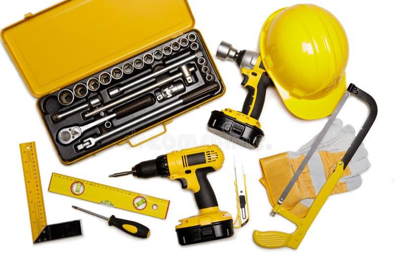 Set of construction tools on white background stock photo