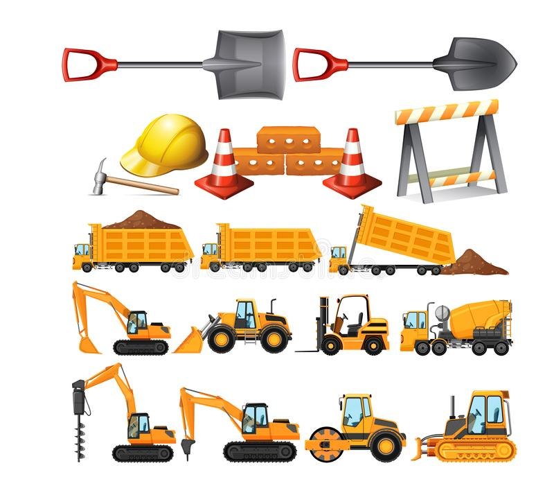 Set of construction vehicles stock illustration
