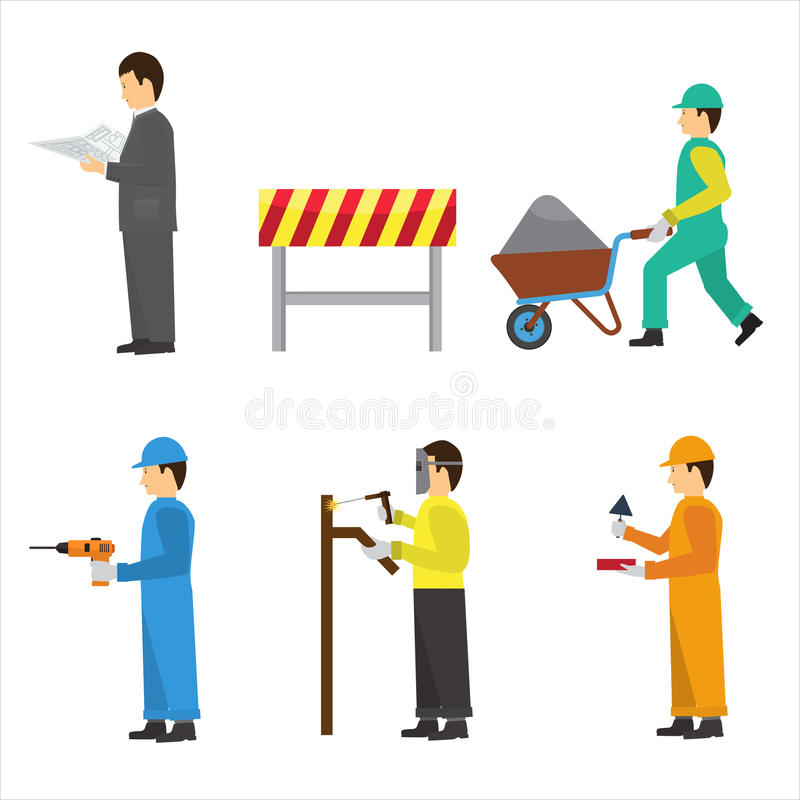 Set of construction workers for info graphics. Flat vector icons royalty free illustration